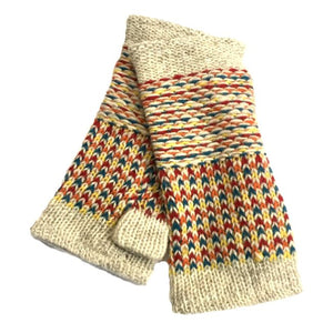 Oatmeal and red wool handwarmers