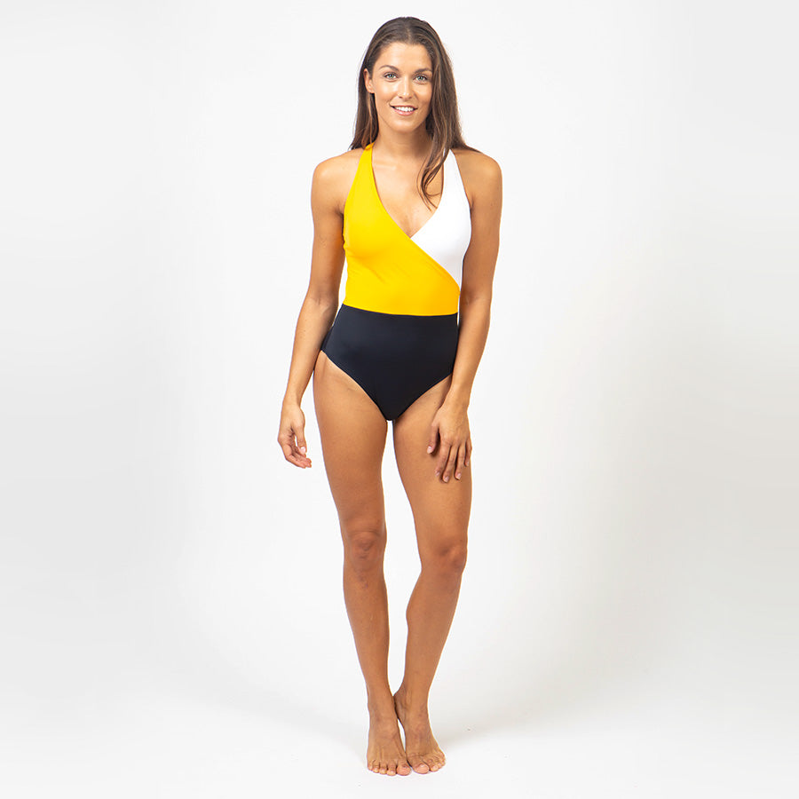 Recycled Nylon Swimsuit - yellow/navy