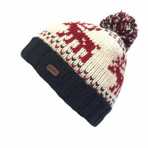 Wool Knitted Bobble Hat - Reindeer