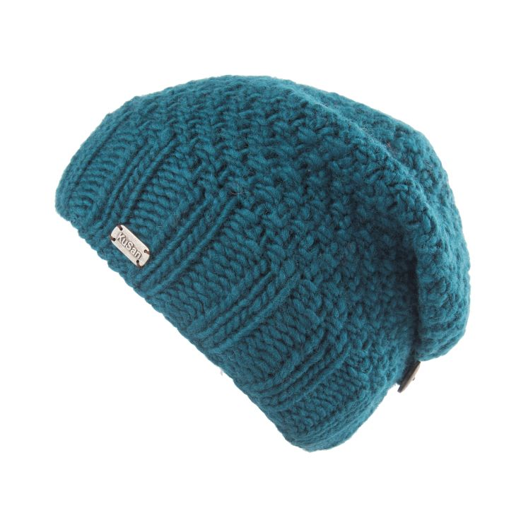 Wool Button Down Beret - teal