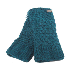Handknitted Wool Hand Warmers - Teal