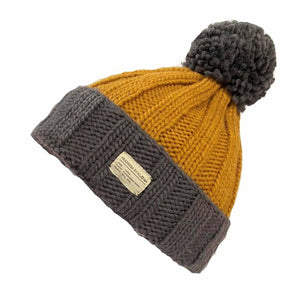Wool Bobble Hat - charcoal/caramel