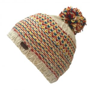 Oatmeal and red wool bobble hat