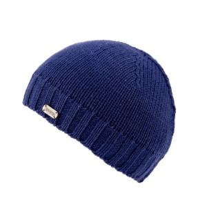 Blue handknitted merino wool beanie hat