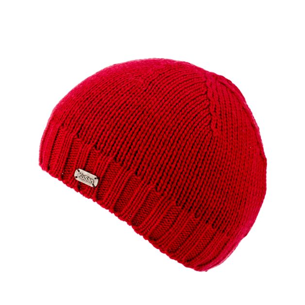 Merino Wool Fisherman Beanie Hat - red
