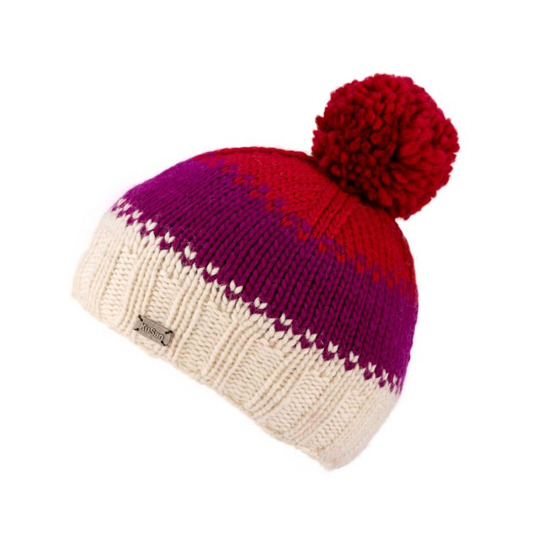 Hand knitted bobble hat in red, pink and cream
