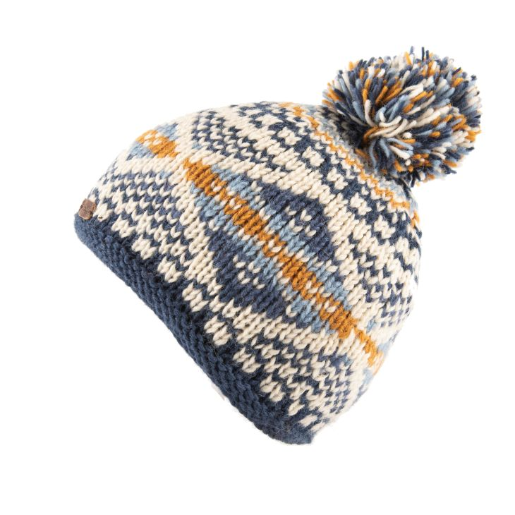 Blue and white patterned bobble hat