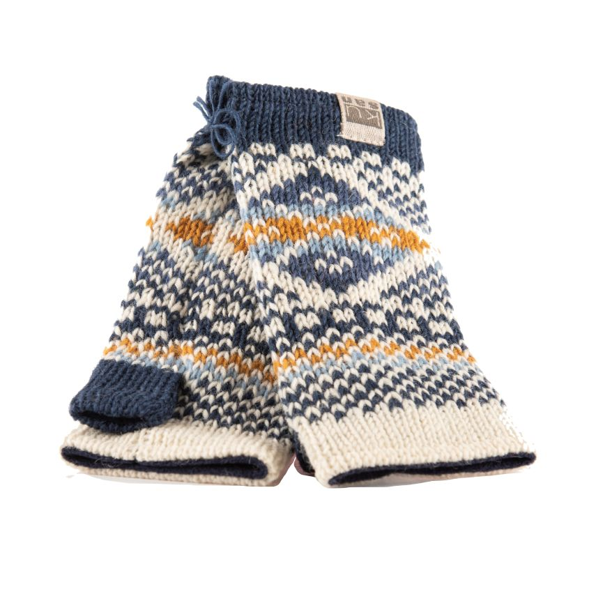 Blue and white patterned wool hand warmers