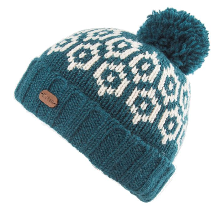 Wool Knitted Bobble Hat - petrol