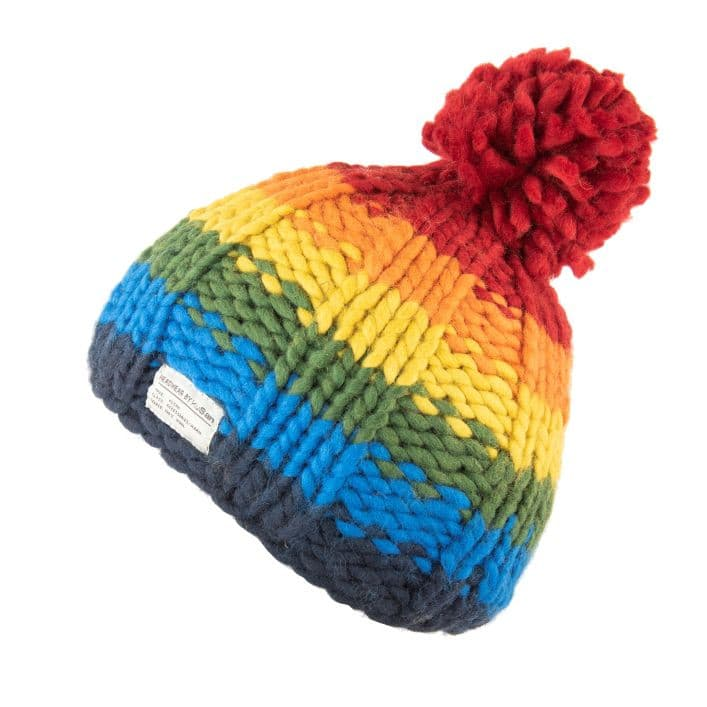 Wool Bobble Hat - chunky knit rainbow