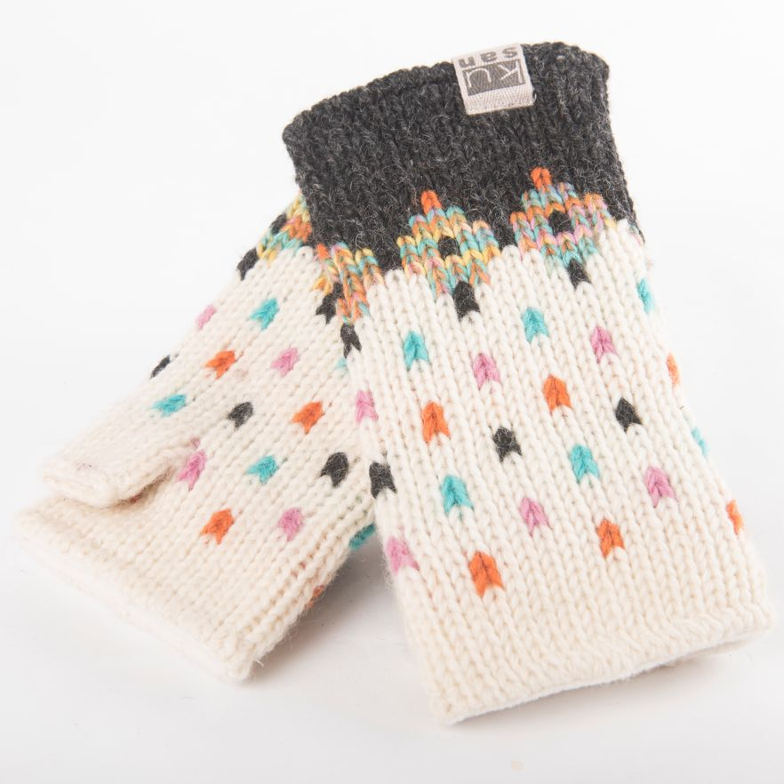 Wool Hand Warmers - Charcoal - cream - multi