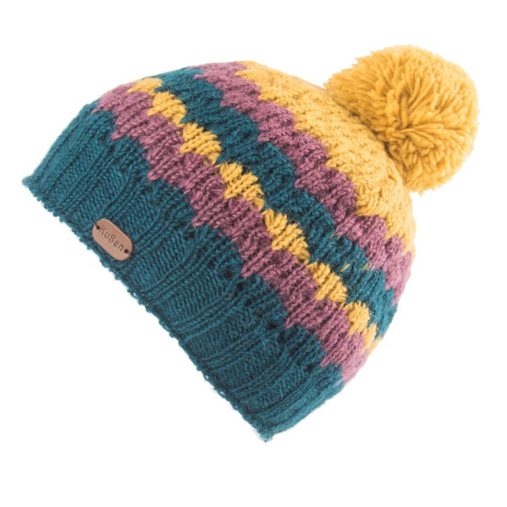 Wool Bobble Hat - teal ochre plum