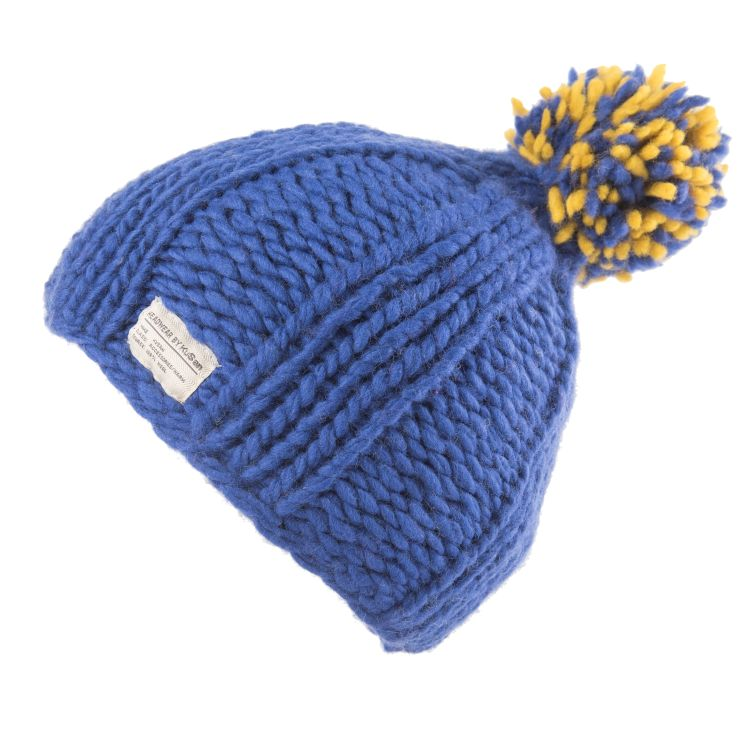 Wool Bobble Hat - chunky knit blue