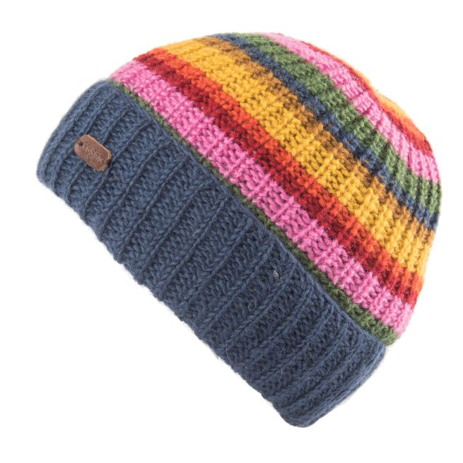 Beanie hat with turned up brim