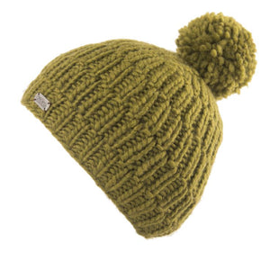 Bobble hat in khaki thick rib cable