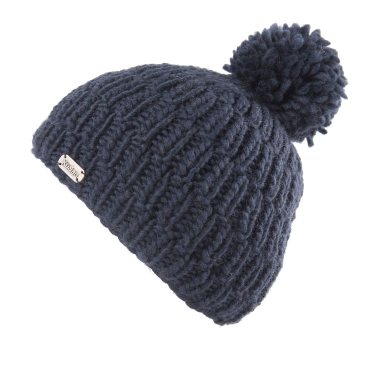 Bobble hat in navy thick rib cable