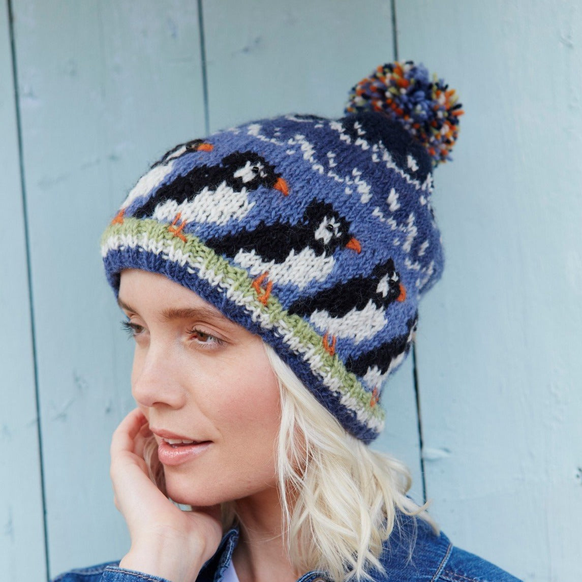 Wool Bobble Hat - puffin