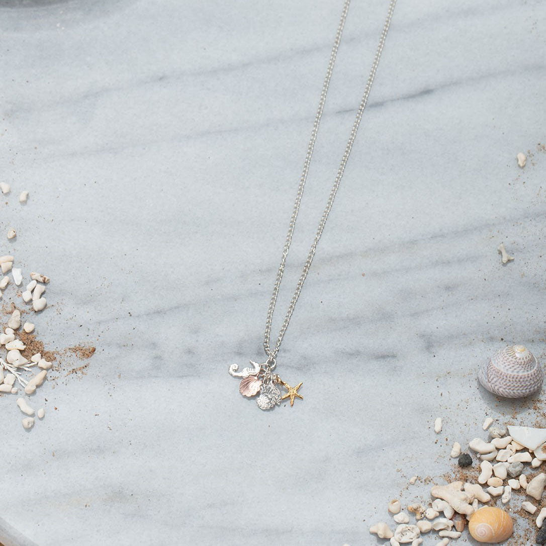 Cluster Necklace - seahorse and shells
