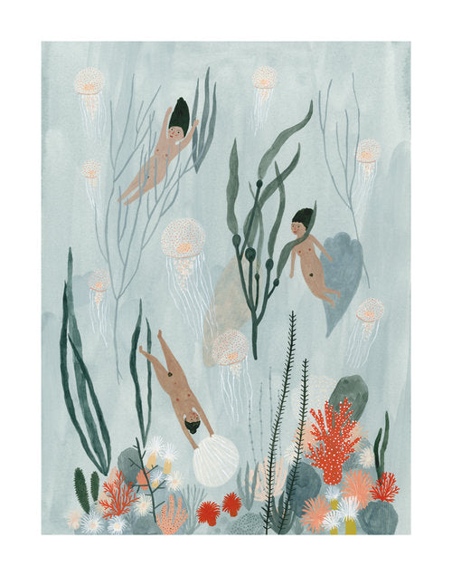 Sea Maidens print by Kate Pugsley.  Three ladies swimming in the sea.