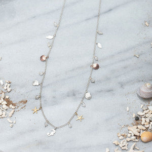 Silver Seaside Charm Necklace