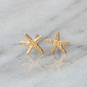 Starfish Stud Earrings - silver/gold