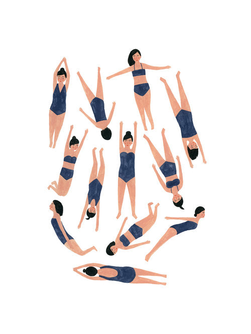 Giclée print of twelve swimming ladies by Kate Pugsley