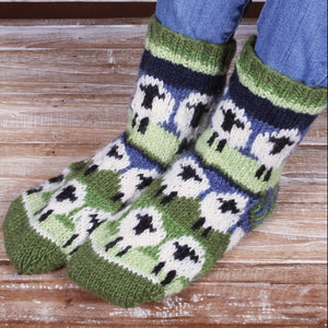 Handknitted wool sheep socks