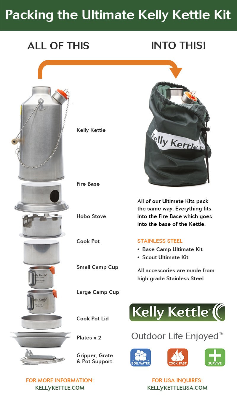 Kelly Kettle Ultimate 'Scout' Kit in Stainless Steel