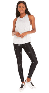 Terez - Silver Hearts Foil Tall Band Leggings