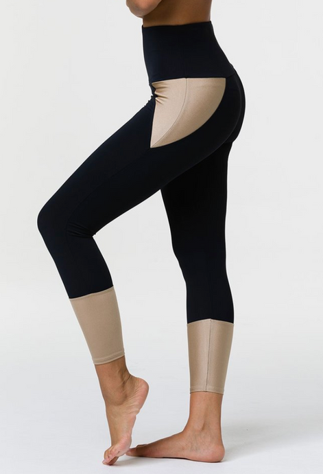 Onzie - Athletic Midi Legging - Black Shiny Taupe