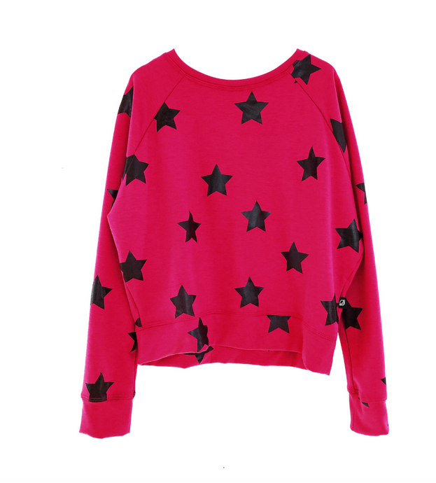 Terez - Girls Pink Sweatshirt with black Stars