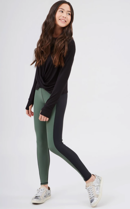 Terez - Girls Olive ColorBlock Leggings