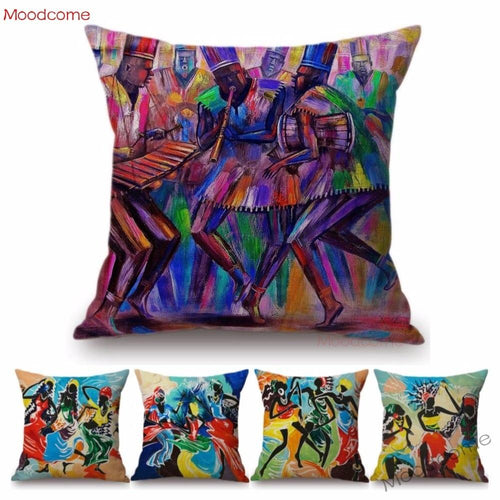 Abstract African Impressionism Painting On Decorative Throw Pillow Case