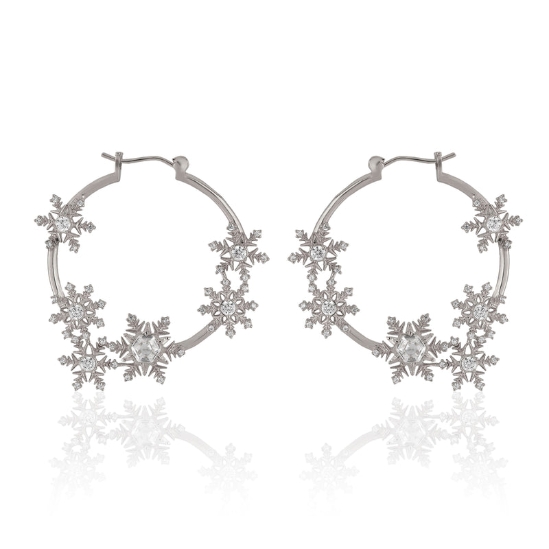 Snowflake Hoop Earrings