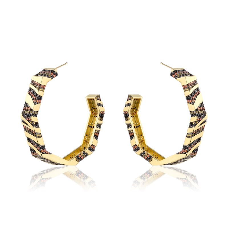 Rhinestones Polygon Hoop Earrings