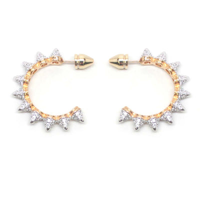 Donna Multi Pave Spikes Hoop Earrings