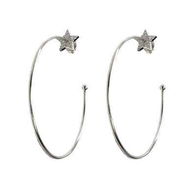 Tahira Pave Star Post Hoop Earrings
