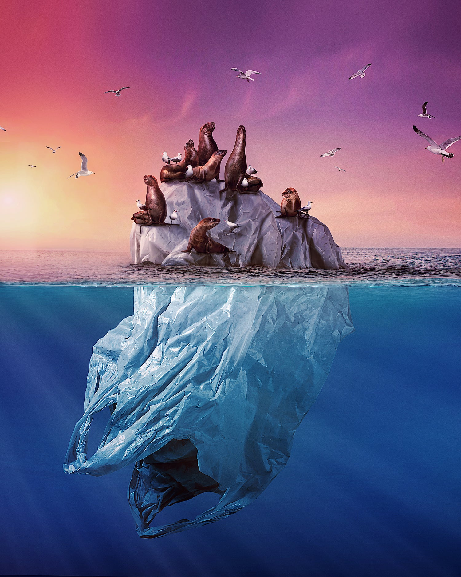 "Image showing ""Sea The Future"", an artwork made by Andy okay to raise awareness about plastic pollution."