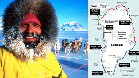 Portrait of Lonnie Dupre and sled dogs next to a map of Dupre's circumnavigation of Greenland