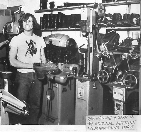 A photo of Gary Neptune in the original Neptune Mountaineering Store