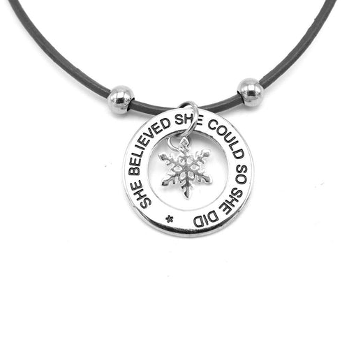 Lilo Collections 'She Believed She Could' Snowflake Necklace
