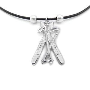 Lilo Collections Skis and Poles Necklace