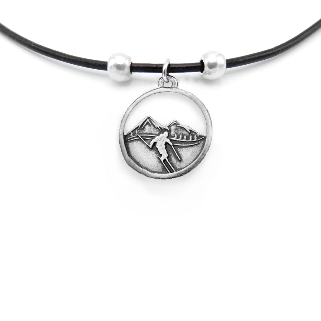Lilo Collections Two Peaks Skier Necklace