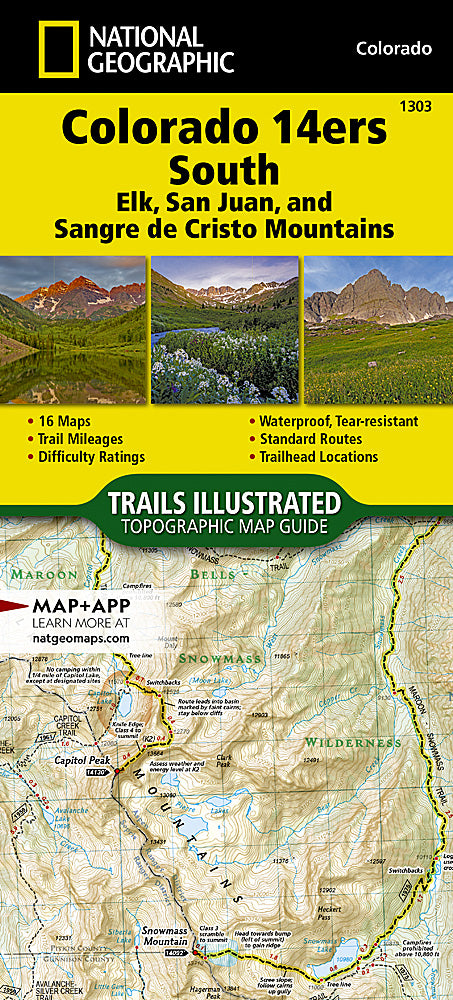 National Geographic Colorado 14'ers South Map