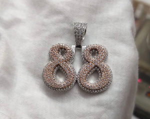 925 solid silver custom made number pendants