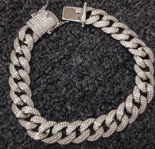 Load image into Gallery viewer, 12mm 925 silver 2 row cuban bracelet