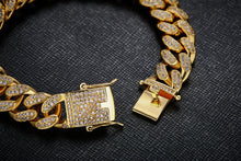 Load image into Gallery viewer, 12mm yellow gold finish cuban link lab diamond bracelet