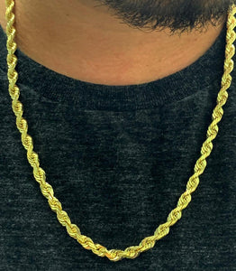6mm solid gold rope chain