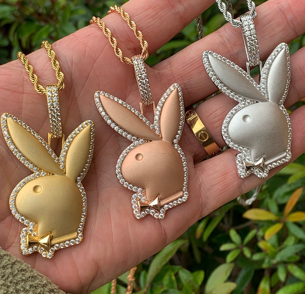 Satin bunny pendant with rope chain