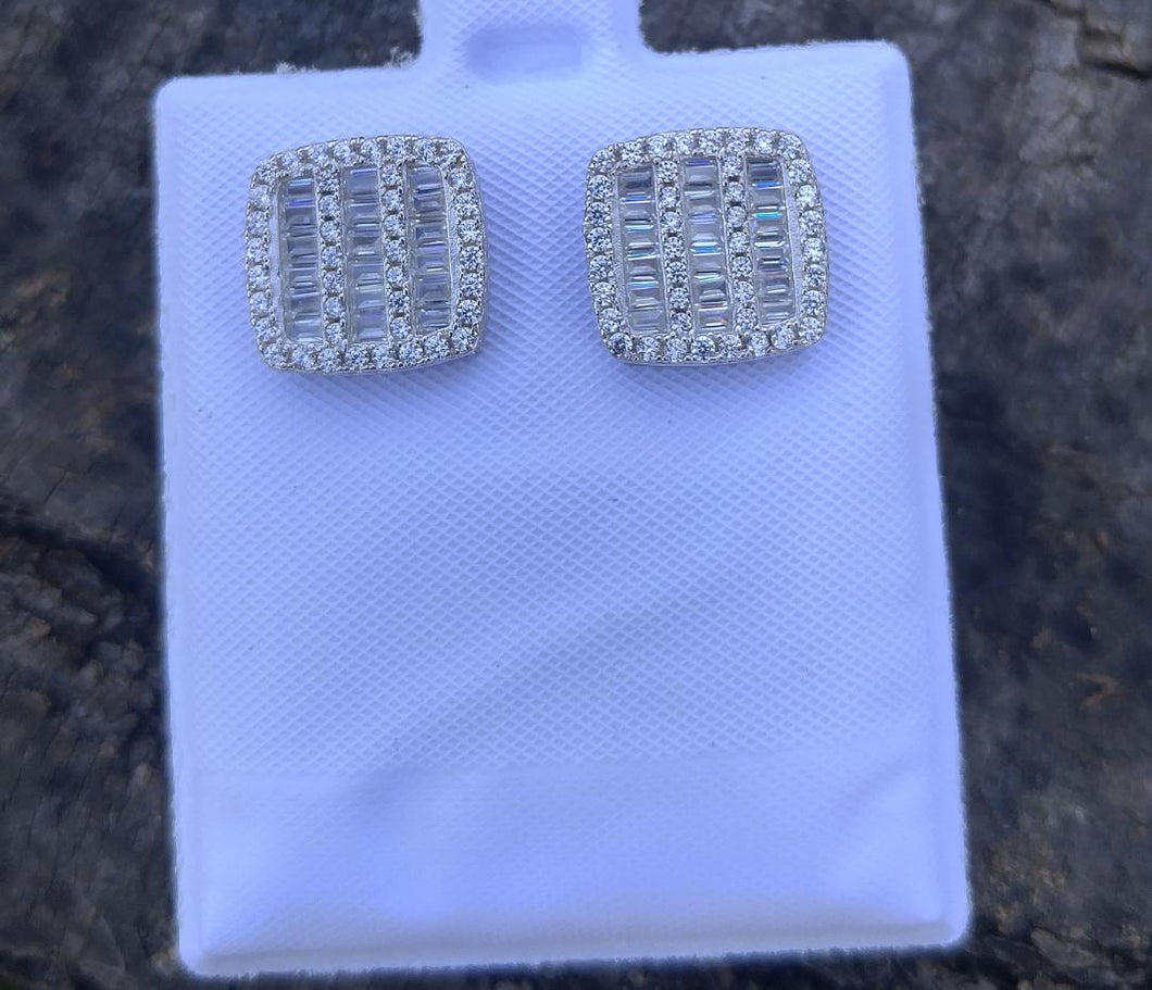 925 silver square baguette screw back earrings